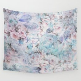 Shabby vintage pastel pink teal floral butterfly typography Wall Tapestry