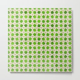 Irish Shamrock Four-leaf clover pattern Metal Print