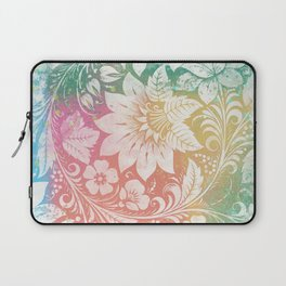 Abstract Pattern:  Watercolor Summery Brights 1 Shabbalicious Floral Orange Laptop Sleeve