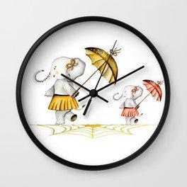 Cheerfull Elphants Wall Clock