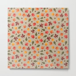 Autumn Leaves Pattern Beige Background Metal Print