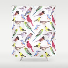 Watercolor spring birds Shower Curtain