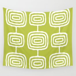 Mid Century Modern Atomic Rings Pattern 771 Green Wall Tapestry