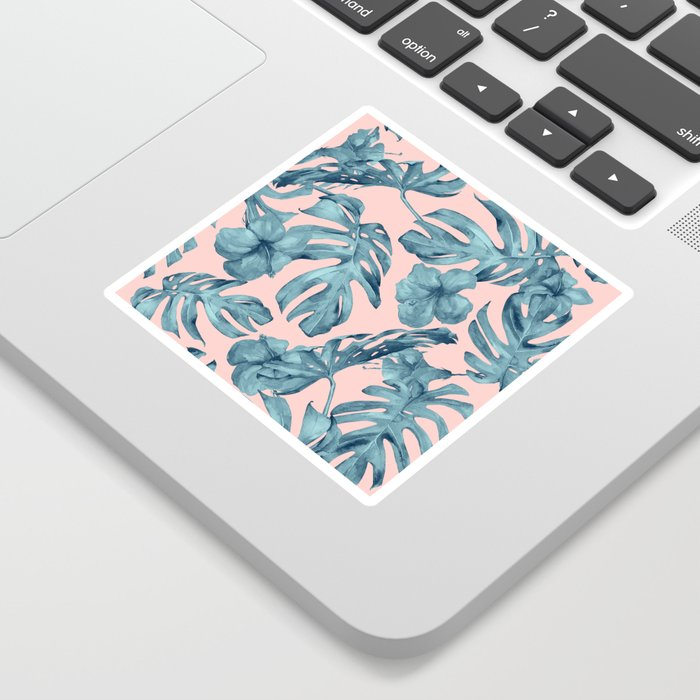 Island Life Teal on Light Pink Sticker