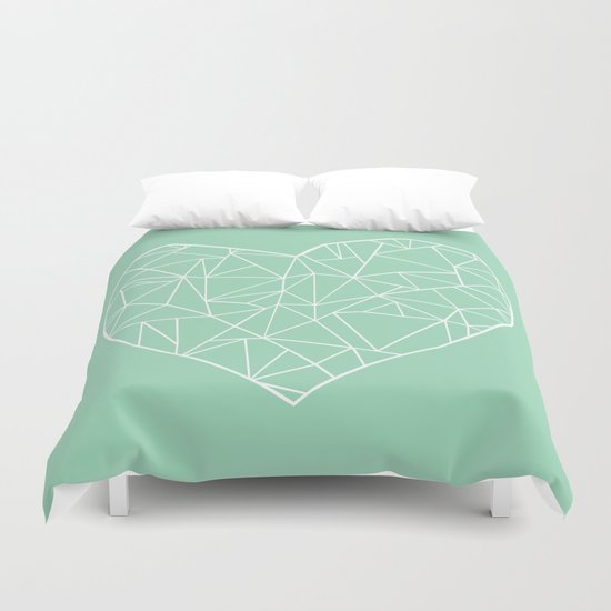 Abstract Heart Mint Duvet Cover