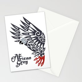 African grey parrot tribal tattoo Stationery Cards
