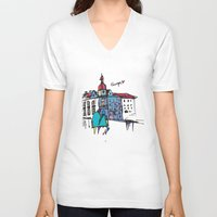 europe V-neck T-shirts featuring europe by PINT GRAPHICS
