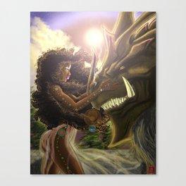 Princess and her Dragon Warrior Canvas Print