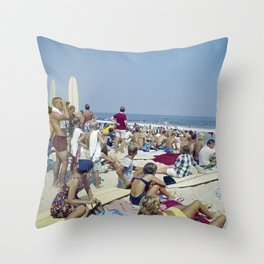 1970's Surfing Competition in Virginia Beach, VA Throw Pillow