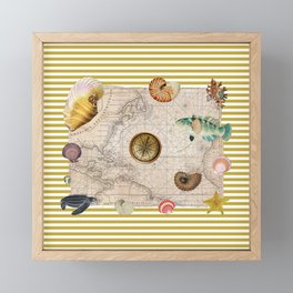 Marine Treasures Mustard Yellow Stripes Framed Mini Art Print