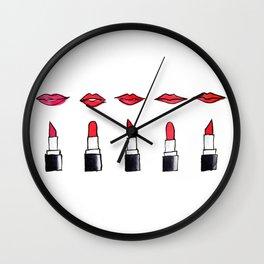 Lips and lipsticks Wall Clock