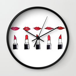 Lips and lipsticks Wall Clock