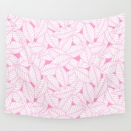 Leaves in Flamingo Wall Tapestry