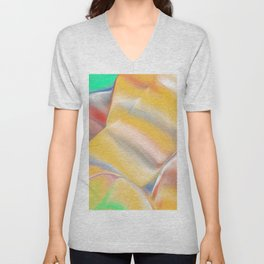 digital pastel with yellow and green Unisex V-Neck