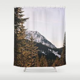 Snow Mountain in the Trees Shower Curtain