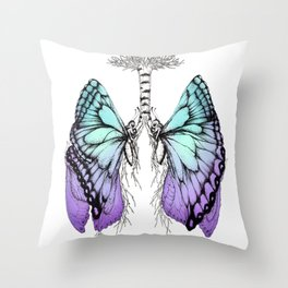 Butterfly Lungs Blue Purple Throw Pillow
