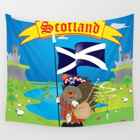 scotland Wall Tapestries featuring Greetings from Scotland by mangulica illustrations