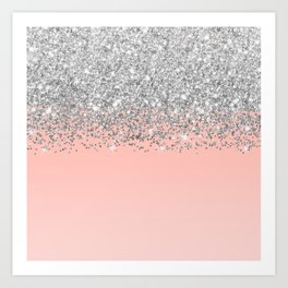 Girly Chic Silver Confetti Pink Gradient Ombre Art Print
