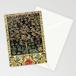 William Morris Northern Garden with Daffodils, Dogwood, & Calla Lily Floral Textile Print Stationery Cards