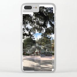 Crisp morning in Forsyth Park, full extents Clear iPhone Case