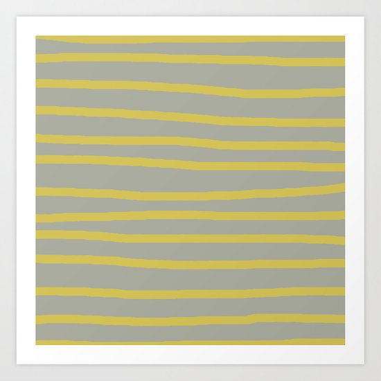 Simply Drawn Stripes in Mod Yellow Retro Gray Art Print