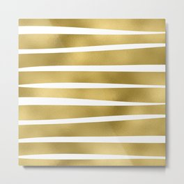 Simply Luxury Gold unequal glitter stripes on clear white - horizontal pattern Metal Print