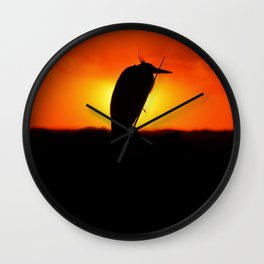 Sunset Heron Silhouette Wall Clock