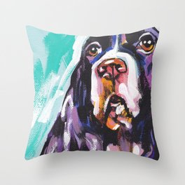 fun English Springer Spaniel bright colorful Pop Art painting by Lea Throw Pillow