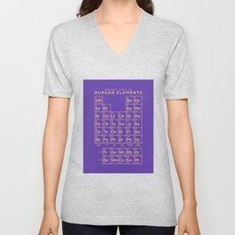 Periodic Table of Burger Elements - Purple Unisex V-Neck