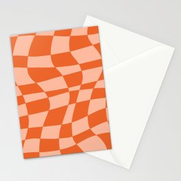 Orange twist checkered retro pattern Stationery Cards