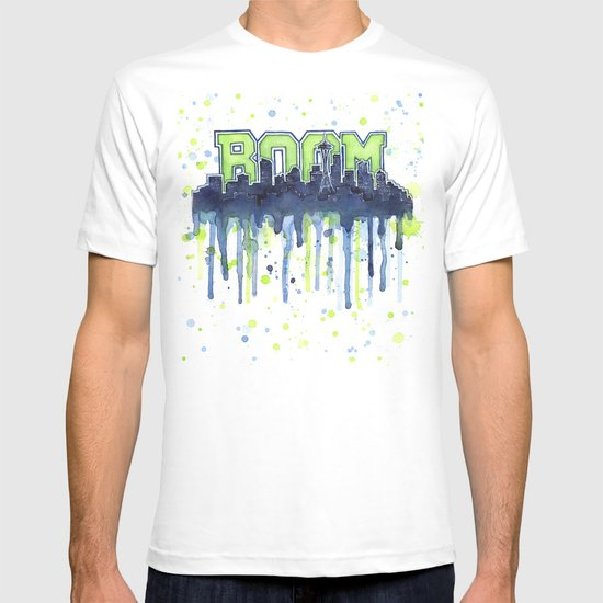 Seattle 12th Man Seahawks Painting Legion of Boom Art T-shirt