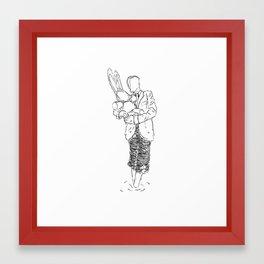 Holding the Bunny Framed Art Print
