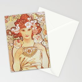 Rose by Alphonse Mucha 1897 // Vintage Girl with Red Hair Floral Love Design Stationery Cards