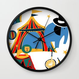 Circus Fun white Wall Clock