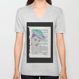 Parrot Hair Black Background Unisex V-Neck