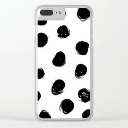 Black brush dots with white background Clear iPhone Case