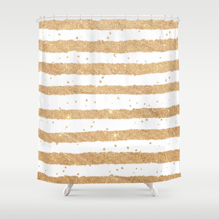 Elegant white faux gold glitter geometrical stripes Shower Curtain