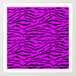 Hot Pink Neon and Black Tiger Stripes Art Print