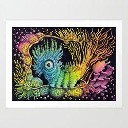 Unplug, Caterpillar, Psychedelic Art Art Print