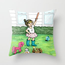 A Girl And Her Army Throw Pillow