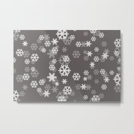 white grey Snowflakes pattern Design - dark grey Metal Print