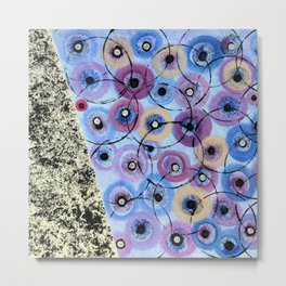 Circles and Flowers- Blue Metal Print