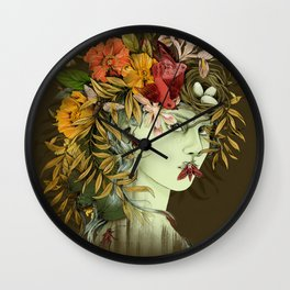 Persephone, goddess of Spring Wall Clock