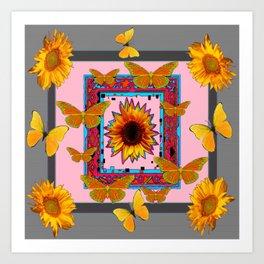 SOUTHWEST ART BUTTERFLIES SUNFLOWERS Art Print