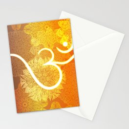 Indian ornament pattern with ohm symbol Stationery Cards