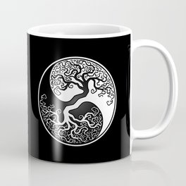 White and Black Tree of Life Yin Yang Coffee Mug