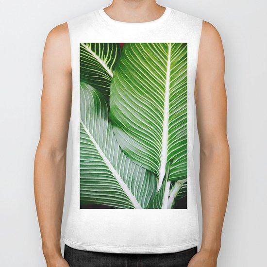 palm leaf pattern Biker Tank