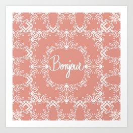 Bonjour - Autumn Peach Art Print
