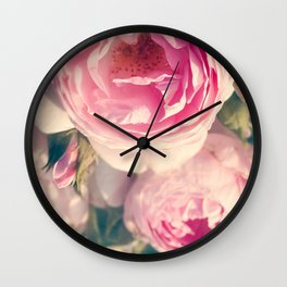 Shabby Chic Flowers, Ranunculus Roses, Spring, Romantic Floral Decor Wall Clock