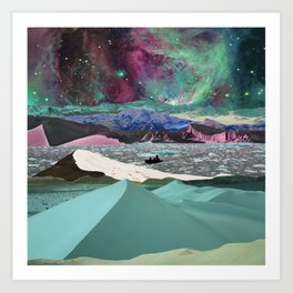 Cold desert in space Art Print